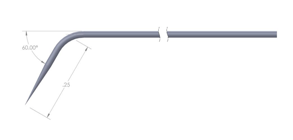 72T tungsten probe with 60 degree bend